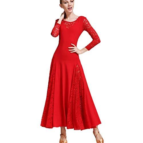 Elegante Große Schaukel Moderne Praxis Rock Mesh, Ballroom Dance Kostüme Langarm Trikot Einfache Tango Kleider Für Frauen (Farbe : Rot, größe : ()