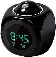 ساعة باضاءة ال اي دي متعددة الوظائف بشاشة LCD رقمية بخاصية العرض على الحائط والتحدث بالصوت وعرض درجة الحرارة