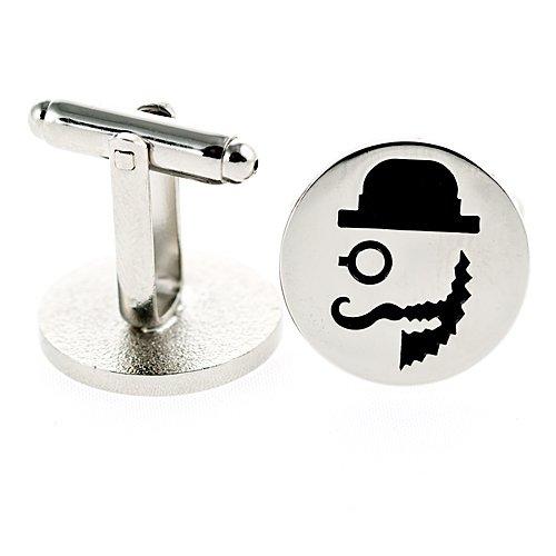 Old Country Gent Silber Manschettenknöpfe für Herren. Vintage Style Bart/Mustache Logo Geschenk Tasche Inklusive
