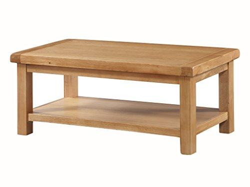 The One Newport en chêne Massif Grande Table Basse avec étagère – Table Basse en chêne – Finition : Rustique en chêne Clair – Meuble de Salon