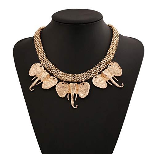 Qijivan - Collar con Colgante de Elefante con Caja de joyería, Collar...