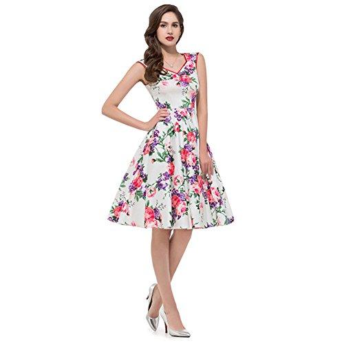 Find Dress Robe de Bal/Soirée Sexy Vintage année 40 50 60 avec l'impression Rose2