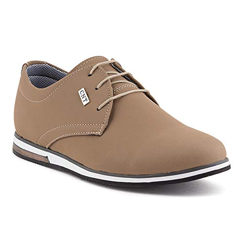 Fusskleidung Herren Business Schnürer Casual Halb Sneaker Schuhe Anzugschuhe Beige EU 41 -