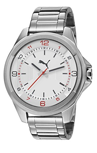 Puma Theme Men's Quartz Watch with White Dial Analogue Display and Silver Stainless Steel Bracelet PU103511002