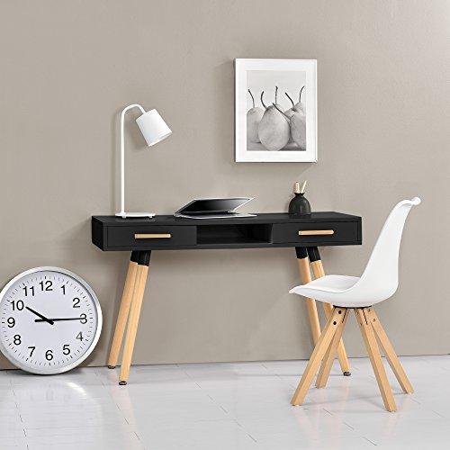 encasa-Retro-Schreibtisch-75x120x45cm-Schwarz-matt-lackiert-Schublade-mit-Stuhl-Wei