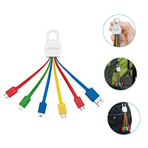 Mini-USB Typ C Kabel,JASTEK 6.3 inch Multi-Ladekabel mit USB-C Anschluss, dem 8-poligen Anschluss, Micro-USB und Mini-USB Anschluss (einteilig bunt)