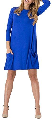 SMITHROAD Damen Unifarben Kleid Langarmkleid Sommer Überknielanges Bluse  Kleid mit zwei Tasche 4 Farben Gr. ...