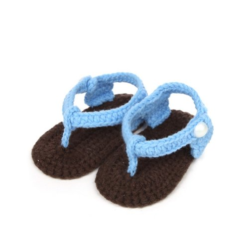 Smile YKK Gestrickte Krabbelschuhe Schuhe flauschige Baby-Unisex Länge 11 cm Flip Flops Violett Flip Flops Hellblau W