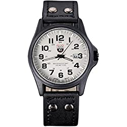 Familizo Vintage Classic Men's Waterproof Date Display Leather Strap Quartz Army Watches Black