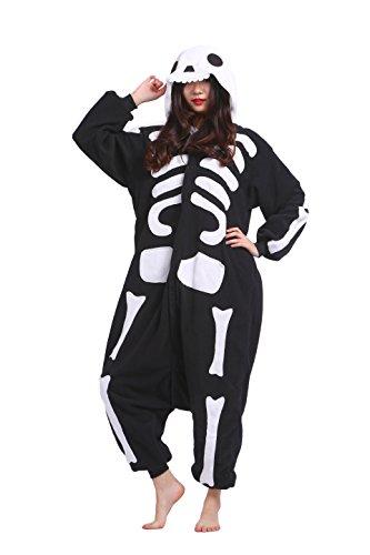 Magicmode Unisex Erwachsene Neuheit Schädel Skelett Strampelanzug Schlafanzug Cosplay Kostüme Kigurumi Hoodie Nachtwäsche Kleid S