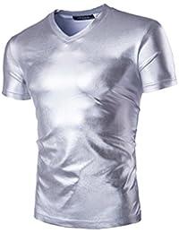 Bestgift Homme T-shirt Couleur Peinture flash