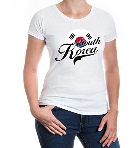 buXsbaum® Girlie T-Shirt Südkorea-Logo White-z-direct