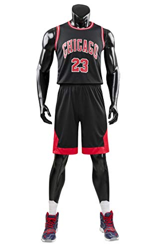 AGAB Herren NBA Michael Jordan # 23 Chicago Bulls Retro Basketball Shorts Sommer Jersey Basketball Uniform Tops und Short One Set-Black-L