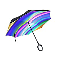 JOCHUAN Double Layer Inverted Colorful Strips Pipe Glowing Rainbow Design Umbrellas Reverse Folding Umbrella Windproof Uv Protection Big Straight Umbrella For Car Rain Outdoor With C-shaped Handle