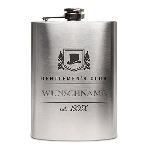 Flachmann Edelstahl 8oz. 237 ml mit individueller Gravur - Gentlemen's Club