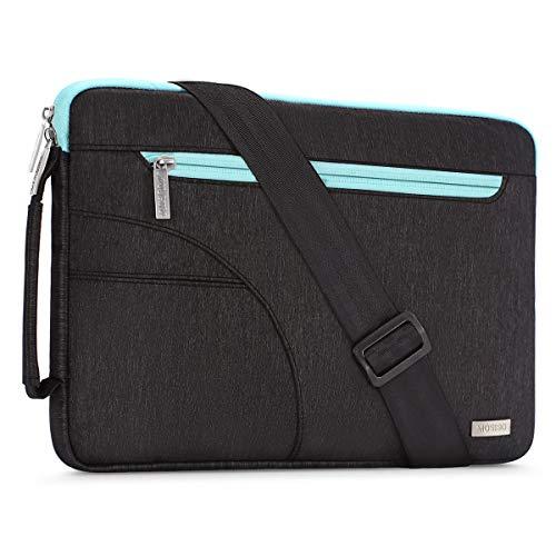 MOSISO Laptoptasche Kompatibel 15-15.6 Zoll MacBook Pro, Notebook Computer, Laptop Schultertasche Sleeve Hülle Polyester Umhängetasche stoßfeste Notebooktasche mit Handgriff, Schwarz & Heiß Blau -