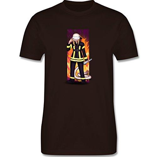 Feuerwehr - Coole Feuerwehrfrau - Herren Premium T-Shirt Braun