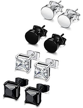 [Gesponsert]Sailimue 4 Paare Set Edelstahl CZ Ohrstecker für Herren Damen Ohrringe Weiß Schwarz 3-8mm
