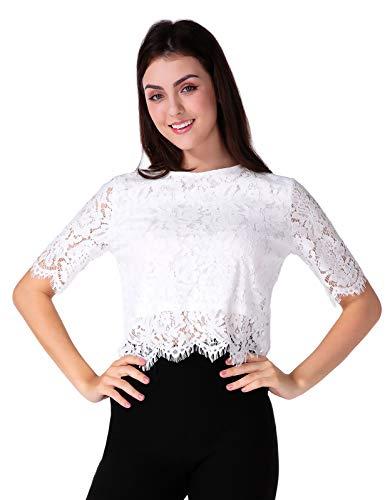 CHICIRIS Damen Elegant Spitze Kurzarm Blusen Crop Top Netzspitze Spitzenbluse Sommer Sexy Mini Kurze Oberteil -