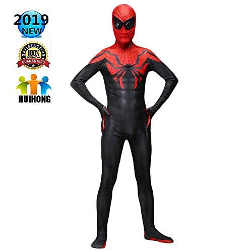 Hunde Großer Kostüm Superhelden - HUIHONG Spider Man Cosplay Kostüm Superior Spider Man Kostüm Superheld Battle Kostüm Zentai Erwachsene Kinder Weihnachten Halloween Bodysuit Overalls,Adult-S
