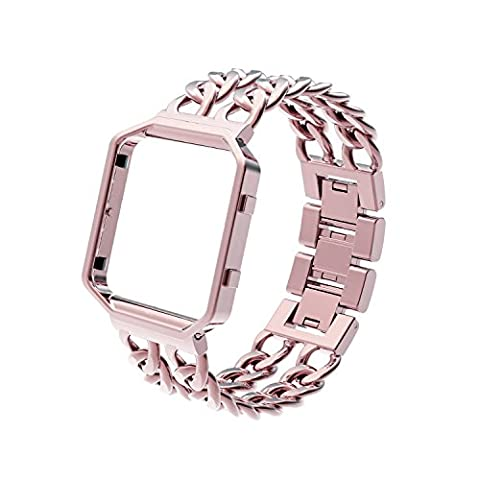 Strap for Fitbit Blaze, Wearlizer Lux Replacement Chain Metal Bands with Metal Frame for Fitbit Blaze (Pink Gold, 7.1 - 8.1 Inch)