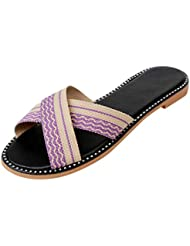 Zapatos Mujer A Rayas Estilo Nacional Tejido en Cruz Estilo Romana Chanclas de Playa