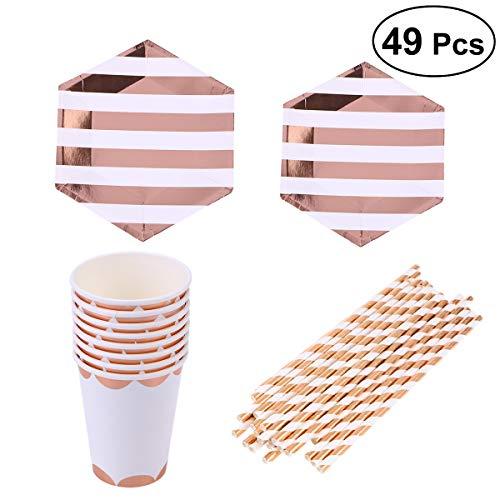 Toyvian 49 stücke Goldenen Streifen Party Supplies Set Pappteller Tasse Strohhalme Geschirr Set für Geburtstag Hochzeit Festival