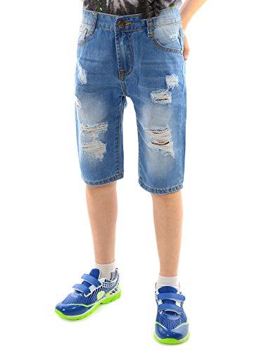 Jungen Destroyed Capri Jeans Shorts Kinder Bermuda Strech Kurze Hose 22133, Größe:164