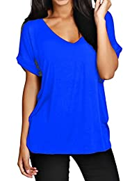 Funky Boutique Damen lange schulterfreies Einfach Batwing Top Größe 44-54: Farbe - blau: Größe - 20-22 XXL