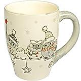 Unbekannt 2 Stück _ 3D Effekt - Henkeltassen / Kaffeetassen - lustige Eulen im Winter - groß - 300 ml - Porzellan / Keramik - weiß Teetasse - Trinktasse mit Henkel - Eu..