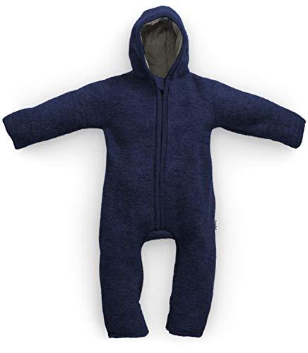 Ehrenkind® Made in Germany WALKOVERALL | Baby Wollwalk-Overalls aus Bio Natur Schurwolle mit Reißverschluss | Walk Wolle Woll-Anzug für Kleinkind und Baby | Marineblau Gr. 86/92