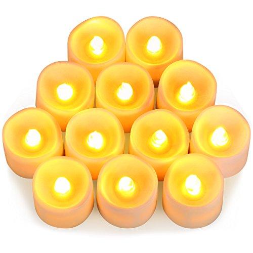 AMIR LED Kerzen, 12 LED Flammenlose Kerzen, Weihnachten LED Teelichter, Elektrische Teelichter Kerzen für Halloween, Weihnachten, Party, Bar, Hochzeit ( Flicker Gelb)