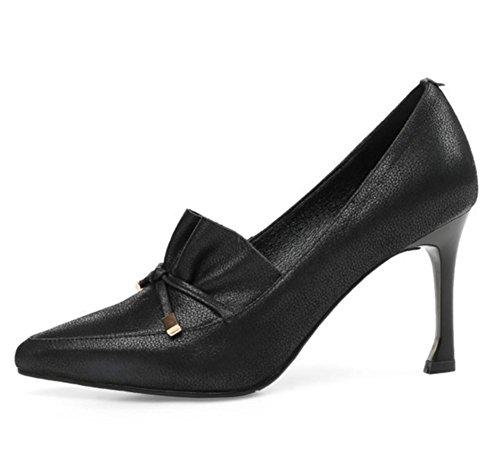 Femmes Pompes Haute Talon Doux Cuir Fermé Doigt de pied Stylet Chaussure Arc Attacher Tribunal Chaussures Noir marron Fête Robe Boîte de nuit Black
