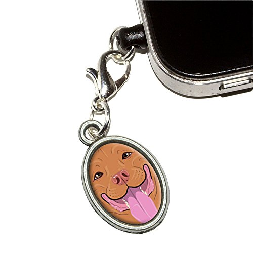 Pit Bull rot Nase – American Staffordshire Terrier Hund Handy Jack Anti-Staub Oval Charm für iPhone iPod Galaxy
