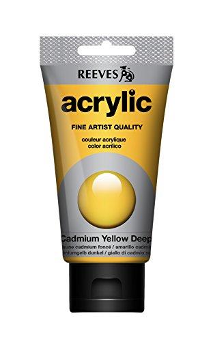 Reeves Acrylfarbe Acrylic, hohe Pigmentierung, 75ml Tube - Kadmiumgelb dunkel Farbton