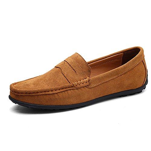 Vilocy uomo fibbia casuale scamosciato mocassini slip on guida barca mocassini scarpe marrone,46