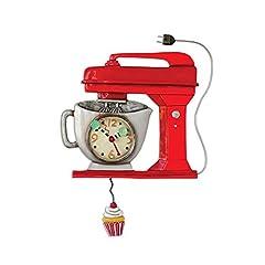Idea Regalo - Allen Designs Vintage Mixer Red Clock - Orologio da parete con forma di apparecchio da cucina