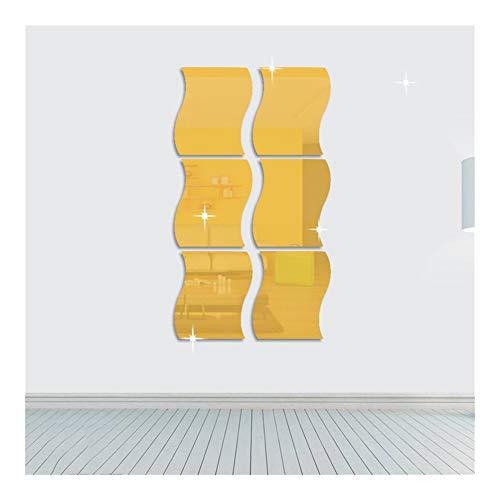Onduladas engomadas de la pared del espejo, Espejo 3D arte DIY decorativo espejo de acrílico pared...