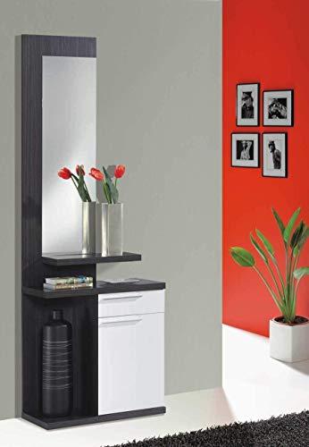 Habitdesign 016746G  Kendra - Recibidor con espejo, mueble de entrada, medidas: 186 x 61 x 29 cm de fondo, color gris ceniza y blanco brillo