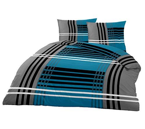 Superbetten-321 Top Bettwäsche Garnitur in Vielen Qualitäten und Größen mit RV in über 30 Verschiedenen Mustern (Grey Line K, 155x200cm Baumwolle 2tlg)