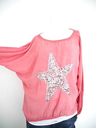 t*fd Damen Blusenshirt Langarmshirt Top Pailletten Stern S M L 36 38 40 42 (8011) Rosa Silber