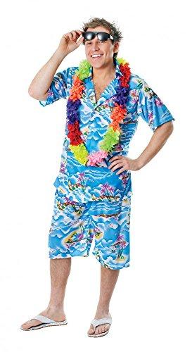 Tourist Lustig Kostüm - Hawaii-Hemd mit und ohne Hose Spaß-Kostüm für Herren Urlauber Tourist Ballermann Party, Größe:Hemd & Hose - L/XL