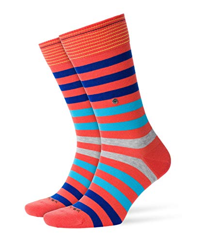 Burlington Herren Blackpool Gestreift Baumwolle 1 Paar Casual Socken, Blickdicht, rot Red 8814, 40/46