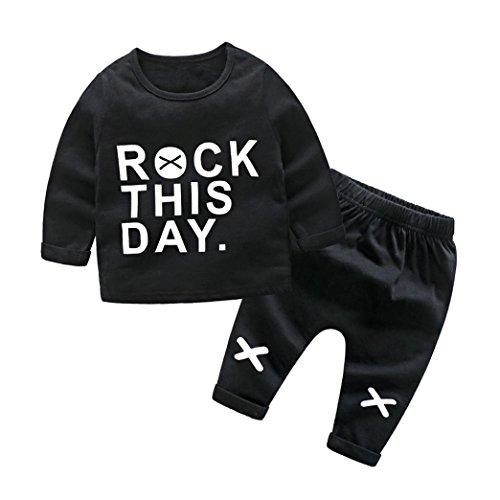 kinderkleidung WINWINTOM Neugeborenen Baby Jungen Mädchen Cartoon Print Tops Shirt Print Hosen 2 Stücke Outfits (Schwarz-B, 70cm)