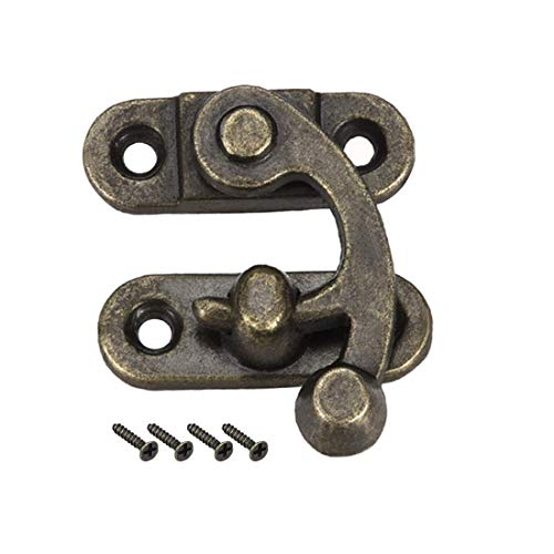 ZCHXD Antique Right Latch Hook Hasp, Swing Arm Latch Plated Bronze 5 pcs w Screws (33mm x 28mm) -