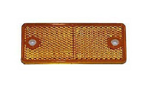 Rechteckiger Reflektor (10 Stück Rückstrahler, Seitenstrahler, Reflektor, orange, rechteckig, 90x40mm, selbstklebend und zum schrauben mit E-Prüfzeichen)