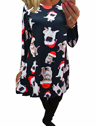 Ladies Christmas Santa Bulldog Xmas Pudding Womens Elf Bull Gatto e Cane Gingerbread Midi Skater Dresses Nero