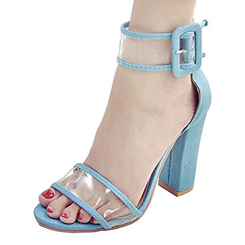 Eastlion Sommer Weibliche Wildleder Transparente Schnalle Hochhackige Sandalen Offener Zeh Rau Schuhabsatz Sandalen Farbe 2