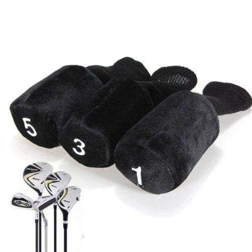 3pcs Housse Capuchon Couvre-Club Club No.1/3/5 de Golf Protection