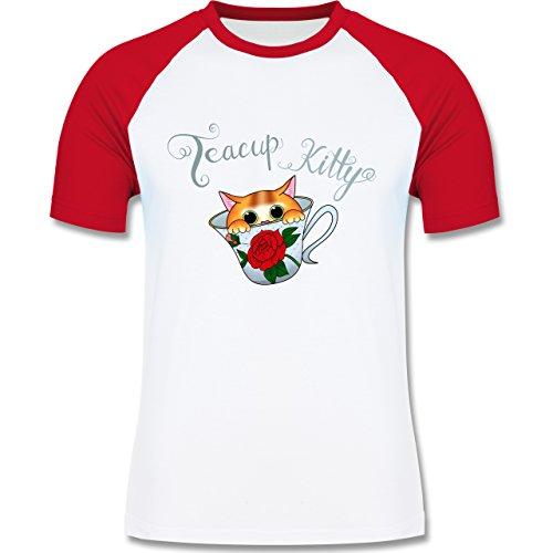 Katzen - Teacup Kitty - zweifarbiges Baseballshirt für Männer Weiß/Rot
